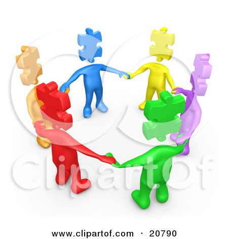 Clipart Illustration of a Group Of Colorful And Diverse People With Puzzle Piece Heads, Standing In A Circle And Holding Hands by 3poD