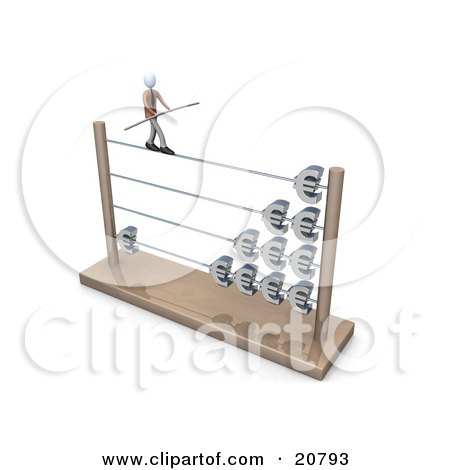 Clipart Illustration of a Businessman Carrying A Beam And Balancing On An Abacus With Increasing Profits by 3poD