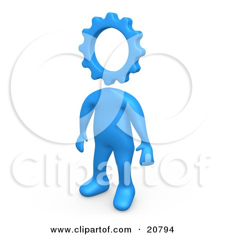 Clipart Illustration of a Creative Cog Headed Blue Person by 3poD