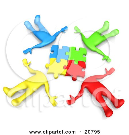 Clipart Illustration of a Group Of Four Colorful Diverse People Lying In A Circle With Their Heads Connected by 3poD
