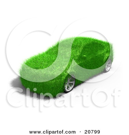 Clipart Illustration of a Green Grassy Energy Efficient Car by 3poD