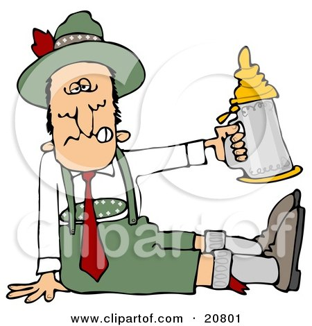 Clipart Illustration of a Drunk Man At Oktoberfest, Seated On The Ground And Holding Up A Beer Stein by djart