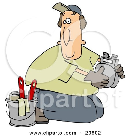 Clipart Illustration of a Kneeling Gas Meter Man From The Gas Company, Installing Or Repairing A Meter by djart