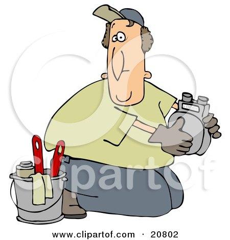 Kneeling Gas Meter Man From The Gas Company, Installing Or Repairing A Meter Posters, Art Prints