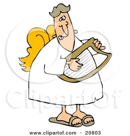Clipart Illustration Of A Grinning Male Angel In A White Robe And Yellow Wings Playing A Lyre