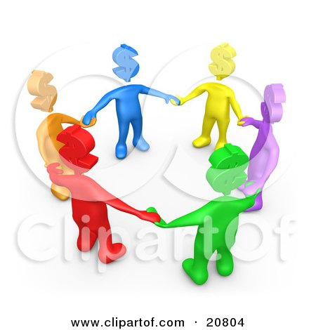 Clipart Illustration of a Group Of Colorful Diverse People With Dollar Symbol Heads, Holding Hands And Standing In A Circle by 3poD