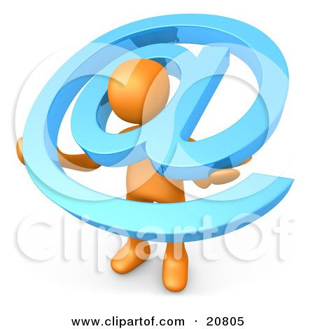 Clipart Illustration of an Orange Person Carrying A Large Blue At Email Symbol Around His Shoulders by 3poD