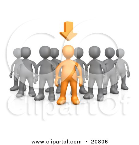 Clipart Illustration of an Orange Person Leading A Group Of Gray People, An Arrow Above His Head by 3poD