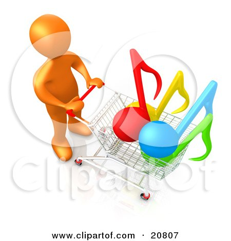 Clipart Illustration of an Orange Person Pushing A Shopping Cart With Music Notes In It, Symbolizing Internet Music Downloads by 3poD