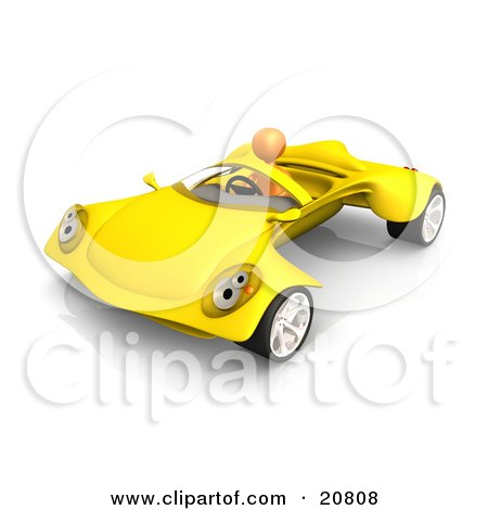 Clipart Illustration of an Orange Person Driving A Futuristic Yellow Convertible Car by 3poD