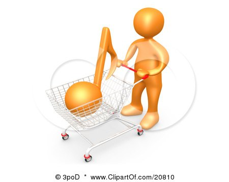 Clipart Illustration of an Orange Person Pushing A Shopping Cart With An Orange Music Note, Mp3 Music Downloads by 3poD