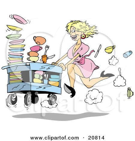 Clipart Picture of a Fast Blond Waitress Woman In A Pink Dress And Black High Heels, Rushing A Cart Of Dirty Dishes To Be Washed At A Restaurant by Holger Bogen