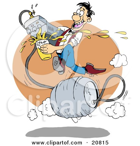Clipart Picture of a Fast And Talented Man Running On A Metal Barrel Beer Keg, Pouring Liquor From A Faucet At A Bar by Holger Bogen
