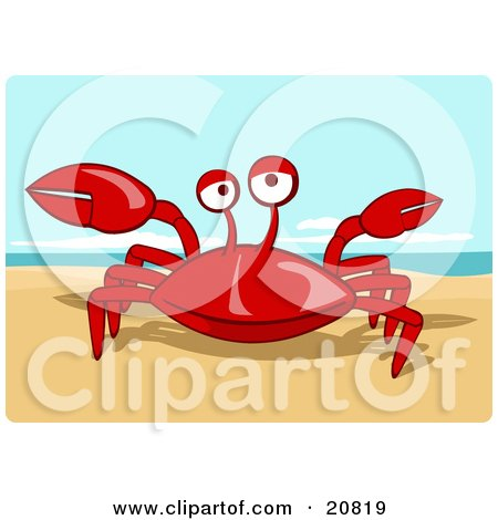 Clipart Picture Of A Friendly Red Crab Getting Sunshine On Warm Sandy Beach By Holger Bogen