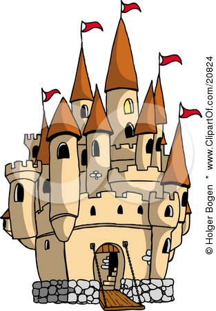 Clipart Picture of a Large Castle With The Gate Down For Visiters And Red Flags Flying From The Towers by Holger Bogen