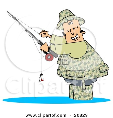 Clipart Illustration of a Happy Man Dressed In Camouflage Gear, Wading In Water And Holding His Fishing Pool While Smiling by djart