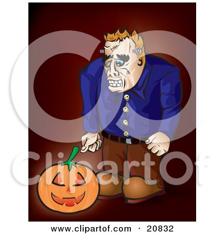 Clipart Illustration of Frankenstein Looking Down At A Glowing Jack O Lantern Pumpkin by Paulo Resende