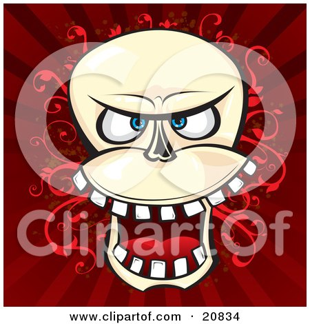 Laughing Evil Human Skeleton Head With Teeth, Over A Red Vine And Striped Background Posters, Art Prints