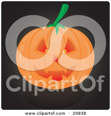 Clipart Illustration of an Evil Grinning Carved Jack O Lantern Pumpkin, Glowing From Candlelight by Paulo Resende