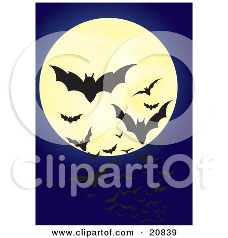 Clipart Illustration of Swarming Flying Vampire Bats Silhouetted Against A Full Moon In A Night Sky by Paulo Resende