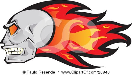 Clipart Illustration of a Fast Flaming Human Skull With Red And Orange Flames by Paulo Resende