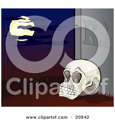 Clipart Illustration of a Human Skeleton Propped Up Against A Tombstone In A Cemetery Under A Full Moon by Paulo Resende
