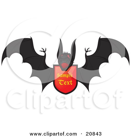 Clipart Illustration of a Heraldic Black Vampire Bat Flying With A Coat Of Arms by Paulo Resende