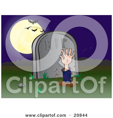 Clipart Illustration of a Zombie Hand Reaching Up Through The Earth In A Cemetary, Bats Flying In Front Of A Full Moon by Paulo Resende