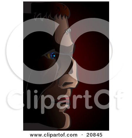 Clipart Illustration of Frankenstein With A Muscular Face, In Profile Over A Dark Background by Paulo Resende