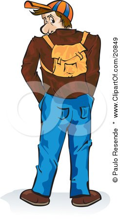 Clipart Illustration of a Casual Male High School Or College Student Wearing A Hat And Backpack, Looking Back Over His Shoulder by Paulo Resende
