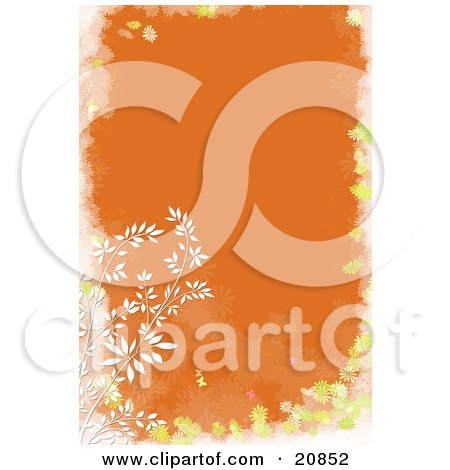 Clipart Illustration of a Branch Of White Weeds Over An Orange Background With A Yellow And White Floral Frame by Paulo Resende