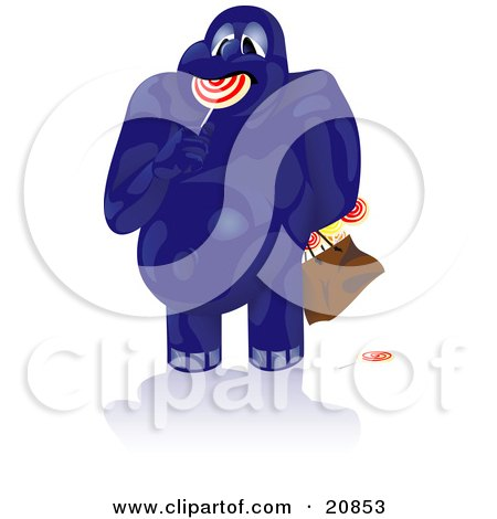 Clipart Illustration of a Fat Blue Monster Chowing Down On Lollipops And Carrying A Bag Full Of Candy by Paulo Resende