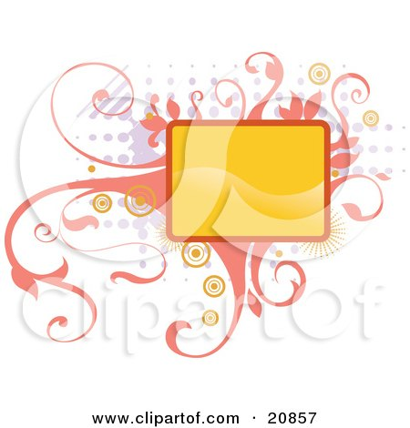 Clipart Illustration of a Blank Yellow Box Over Elegant Pink Vines And Retro Dots Over A White Background by Paulo Resende