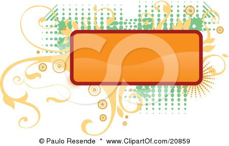 Clipart Illustration of a Blank Orange Rectangular Box Over Elegant Yellow Vines And Retro Green Dots Over A White Background by Paulo Resende