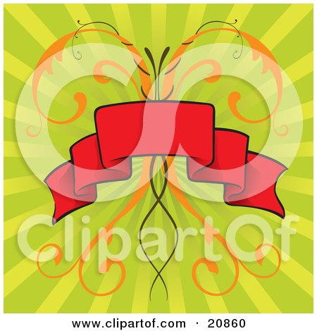 Clipart Illustration of a Black Red Banner Over Elegant Orange Vines And A Green Striped Retro-Revial Background by Paulo Resende