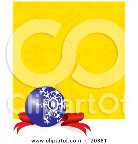 Clipart Illustration of an Elegant Blue Christmas Bauble With A White Snowflake Design, Resting On A Red Ribbon Against A Yellow Snow Flake Background by Paulo Resende