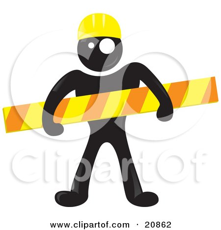 Clipart Illustration of a Blackman Character Wearing A Yellow Hardhat And Holding A Construction Bar by Paulo Resende