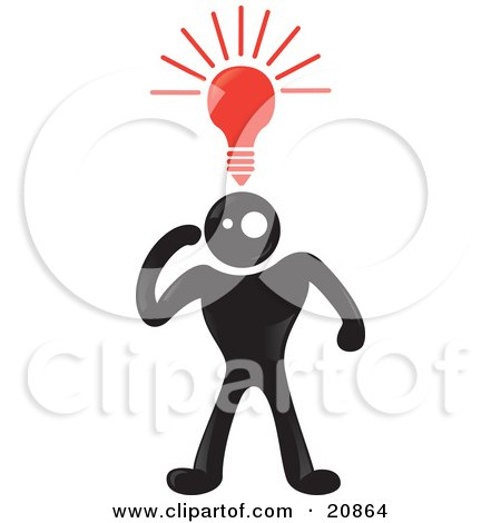 Clipart Illustration of a Creative Blackman Character With A Red Lightbulb Shining Above His Head by Paulo Resende