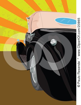 Clipart Illustration of a Shiny Black Vintage Convertible Car Parked Against A Striped Orange And Yellow Retro-Revival Background by Paulo Resende