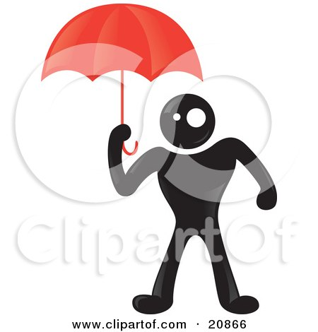 Clipart Illustration of a Blackman Character Protecting Himself From Rain Under A Red Umbrella by Paulo Resende
