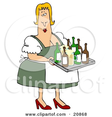 Clipart Illustration of a Curvy Blond Oktoberfest Beer Maiden Woman Serving Beer In Mugs And Bottles by djart