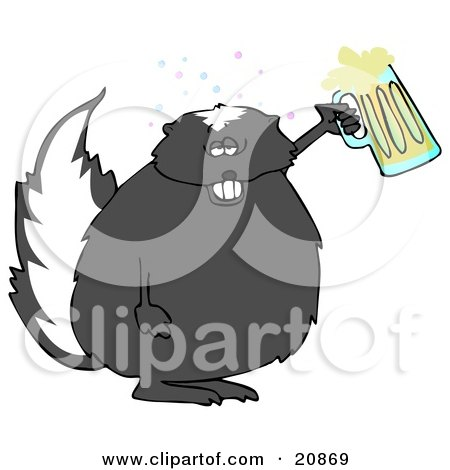 Clipart Illustration of a Chubby Skunk Getting Drunk And Holding Up A Mug Of Beer At A Party Or Oktoberfest by djart