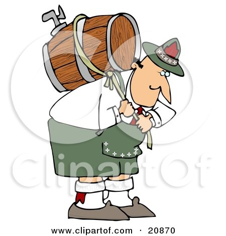 Clipart Illustration of a Strong Oktoberfest Man In Costume, Carrying A Heavy Wooden Beer Barrel Keg On His Back by djart