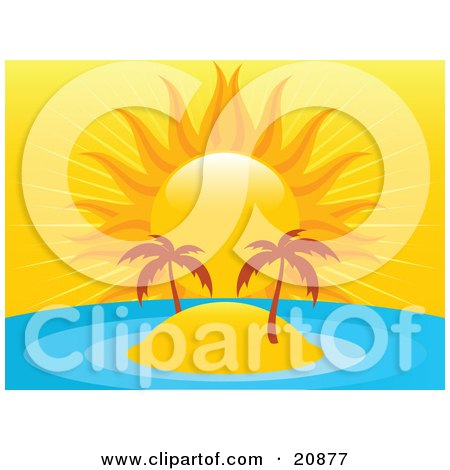 Clipart Illustration of a Deserted Tropical Island With Two Trees In The Middle Of A Blue Ocean, Under A Bright Orange Sun by elaineitalia