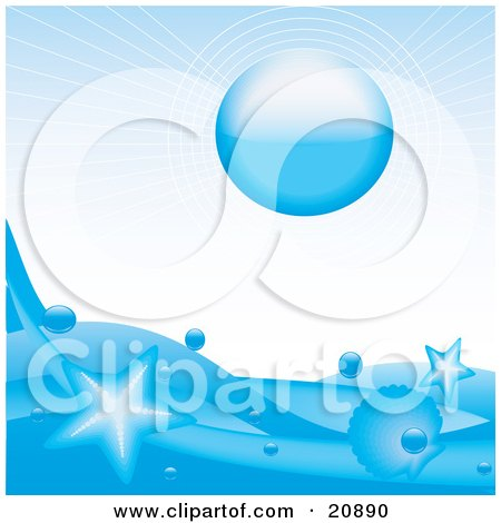 Clipart Illustration of a Blue Sun Over An Icy Blue Ocean With Stars Leaping Out Of The Water by elaineitalia