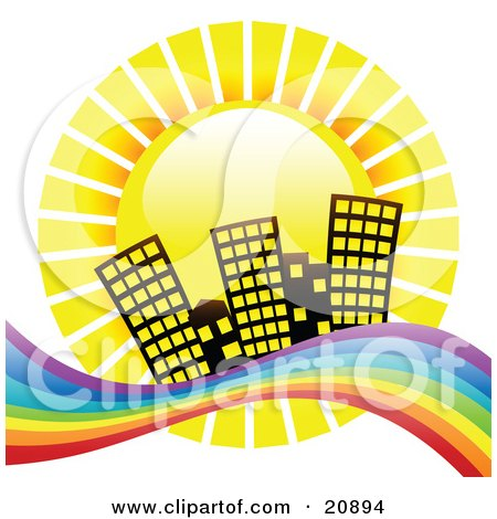 Clipart Illustration of a Yellow Sun Shinging Down Hotel Buildings On A Beach With Rainbow Waters by elaineitalia