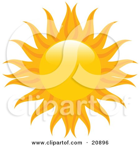 Clipart Illustration of an Orange Sun With Yellow And Orange Radiating Arms Over White by elaineitalia