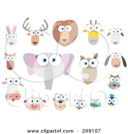 Royalty-Free (RF) Clipart Illustration of a Digital Collage Of Big Eyed Animal Faces by Qiun