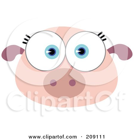 Royalty-Free (RF) Clipart Illustration of a Big Eyed Pig Face by Qiun