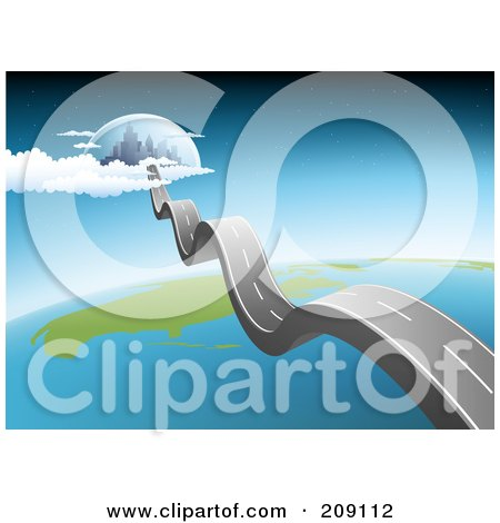 Royalty-Free (RF) Clipart Illustration of a Bumpy Asphalt Road Leading To A City In The Sky With Earth Below by Qiun